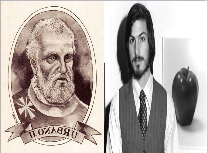 Papa Urbano II, papa cristiano que estableció las primeras cruzadas vs Steve Jobs, informático fundador de la marca Apple