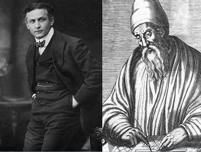 Harry Houdini, mago escapista considerado uno de los mejores de su tiempo vs Euclides de Alejandría, padre de la Geometría