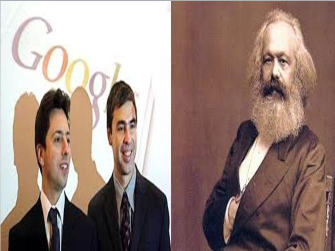 Larry Page y Sérguei Brin, creadores del buscador de información Google vs Karl Marx, filósofo ruso representante del comunismo