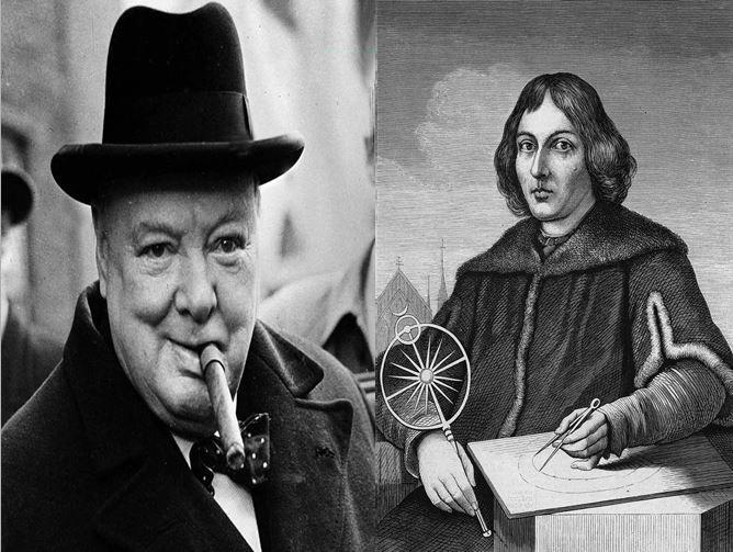 Winston Churchill, primer ministro británico durante la IIGM  vs Nicolás Copérnico, astrónomo que ideó la teoría heliocentrista