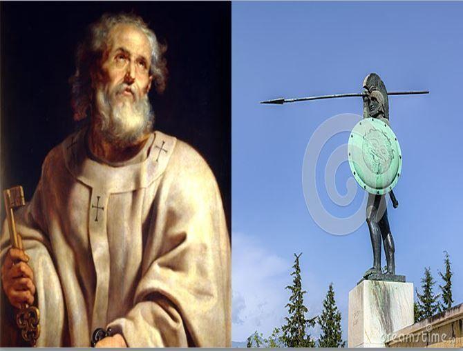 San Pedro, apóstol de Jesús y primer Papa vs Leonidas, rey espartano que comando a un batallón de 300 hombres en la guerra