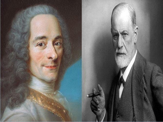 Voltaire, filósofo francés representante de la Ilustración vs Sigmund Freud, médico austriaco padre del psicoanálisis