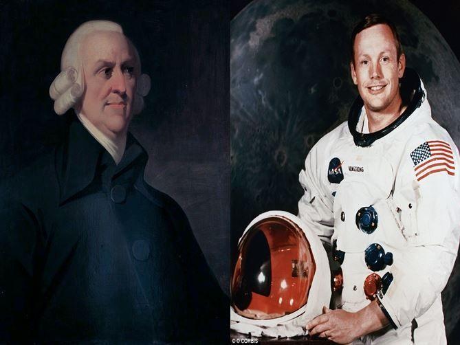 Adam Smith, economista escocés impulsor del librecambismo vs Neil Armstrong,  primer hombre en pisar la Luna