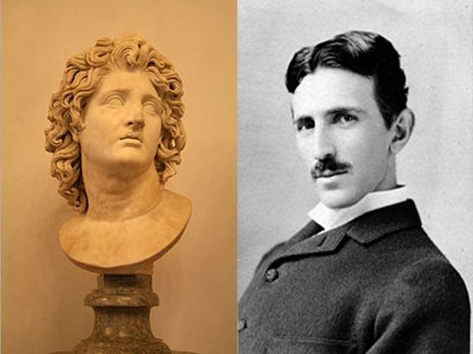 Alejandro Magno, conquistador macedonio vs Nikola Tesla, inventor serbio desarrollador del modelo de corriente alterna