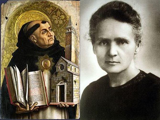 Santo Tomás de Aquino, teólogo y filosófo católico italiano vs Marie Curie, científica polaca pionera en la radioactividad