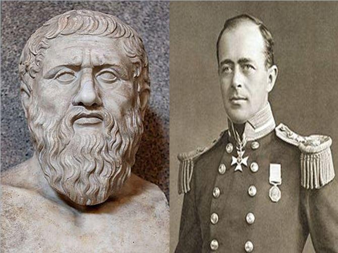 Platón, filósofo griego y padre de la filosofía clásica vs Robert F. Scott, general que dirigió dos expediciones a la Antártida