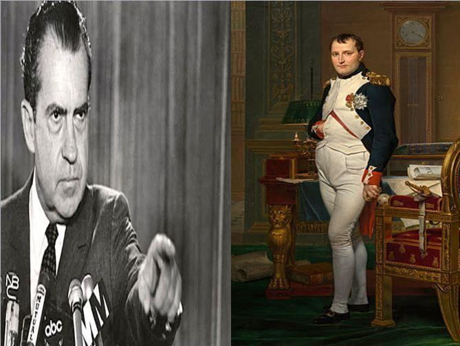 Richard Nixon, presidente americano causante del caso Watergate vs Napoleón Bonaparte, emperador francés