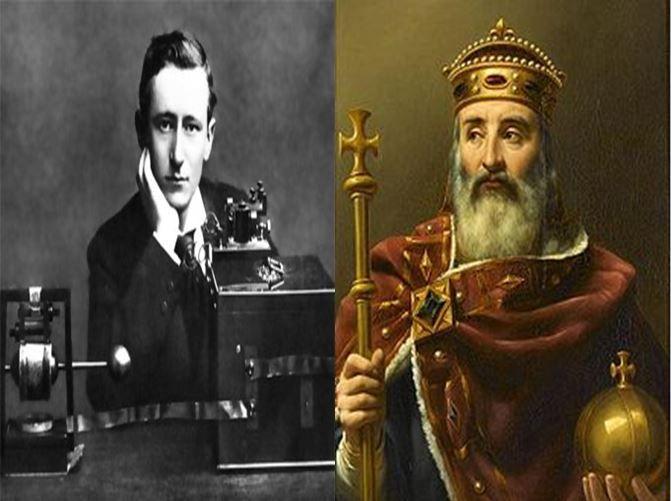 Guillermo Marconi, inventor de la radio vs Carlomagno, rey del Imperio Carolingio