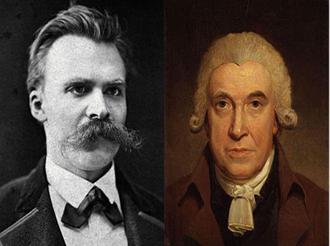 Friedrich Nietszche, filósofo alemán representante del nihilismo vs James Watt, inventor de la máquina de vapor
