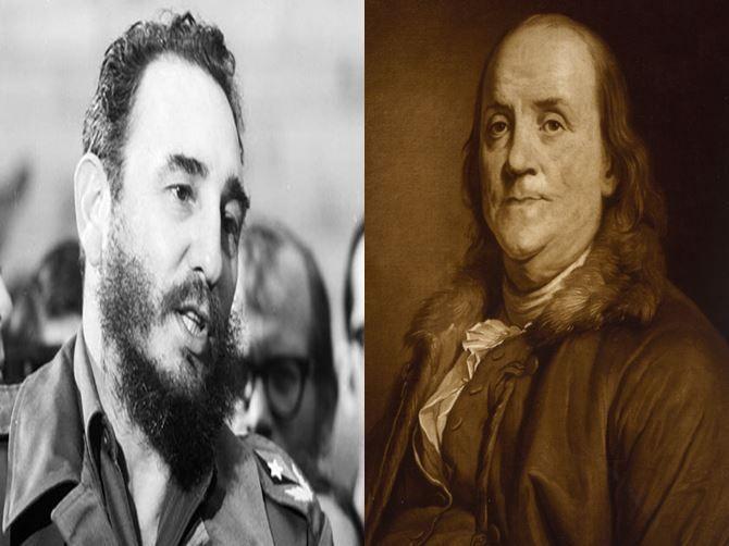 Fidel Castro, militar cubano dirigente de dicho país vs Benjamin Franklin, inventor y político americano, padre fundador de USA