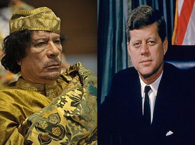 Muamar el Gadafi, político y dictador libio vs John F. Kennedy, presidente americano defensor de los Derechos Civiles