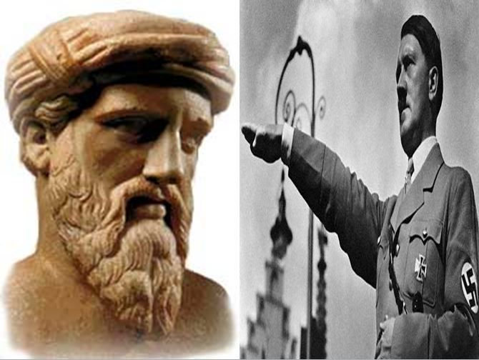 Pitágoras, matemático griego creador del Teorema homónimo vs Adolf Hitler, dictador alemán durante la II Guerra Mundial