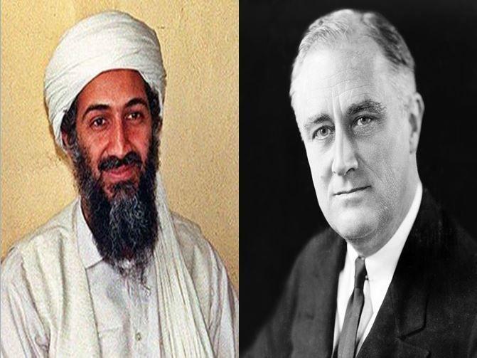 Osama Bin Laden, terrorista y líder de Al-Qaeda vs Franklin D. Roosevelt, presidente americano durante la IIGM