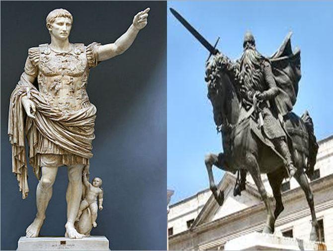 Octavio Augusto, importante emperador romano sucesor de Julio Cesar vs El Cid, que reconquistó parte del territorio valenciano