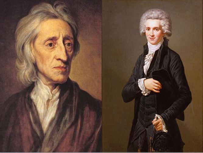 John Locke, filósofo inglés y padre del Liberalismo Clásico vs Maximilien Robespierre, líder de la Revolución Francesa