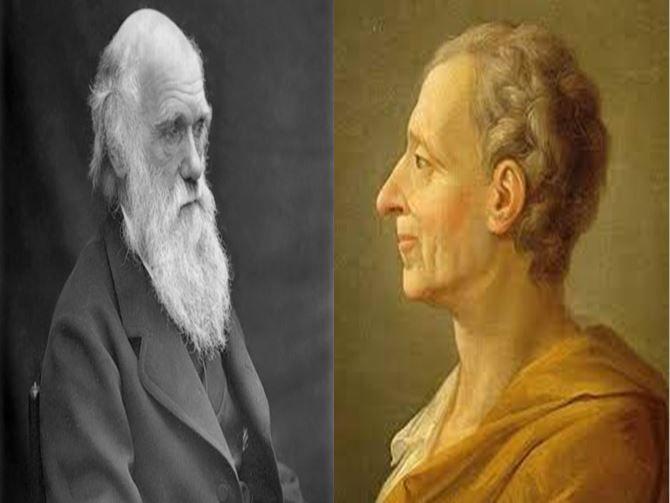 Charles Darwin, que creó la Teoría de la Evolución vs Montesquieu, filósofo ilustrado que ideó la separación de poderes