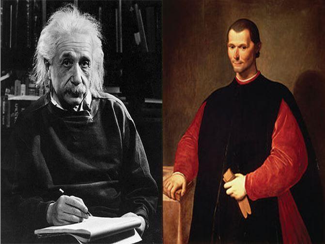 Albert Einstein, científico que ideó la Teoría de la Relatividad vs Nicolás Maquiavelo, filósofo padre de la Ciencia Política
