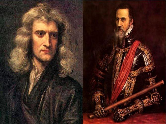 Isaac Newton, físico que planteó las principales leyes de la dinámica vs Carlos I, rey más poderoso de España