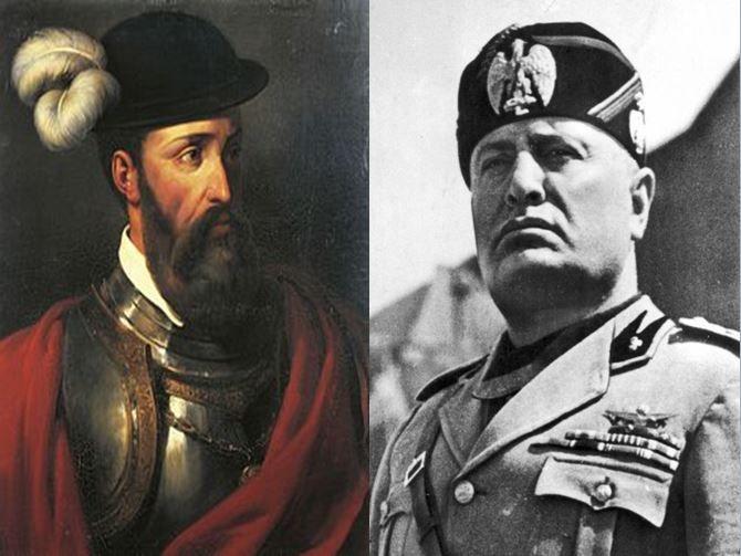 Francisco Pizarro, colonizador español que conquistó Perú vs Benito Mussolini, líder fascista en Italia durante la IIGM