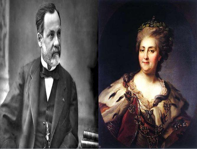 Louis Pasteur, químico francés que creó la pasteurización vs Catalina II La Grande, emperatriz rusa durante la Ilustración