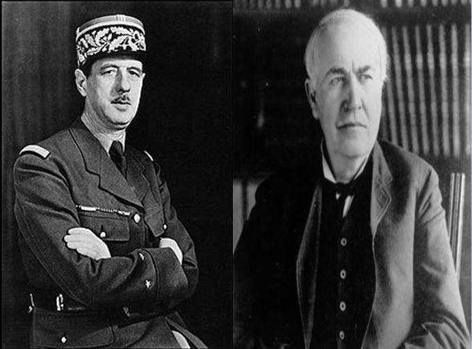 Charles De Gaulle, presidente francés durante la IIGM vs Thomas A. Edison, importante inventor creador de la bombilla