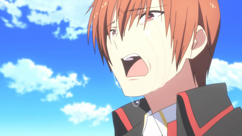 Kyosuke se despide de Riki porque el mundo se está destruyendo en Little Busters: Refrain