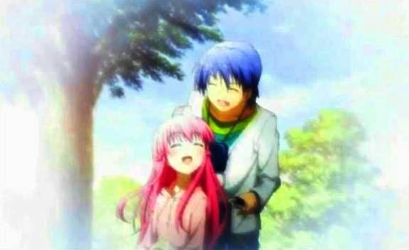 Hinata ayuda a Yui con sus problemas en Angel Beats