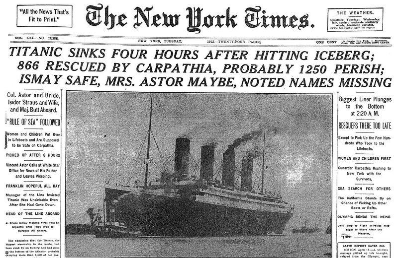 ¿En qué fecha tuvo lugar el hundimiento del Titanic?