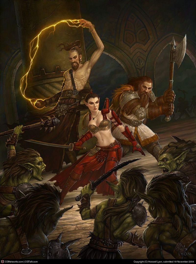 En medio de una sala abierta os presenta batalla una horda de trasgos.