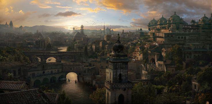 (II) Tras un tiempo caminando llegas al centro de la ciudad, las calles están limpias y cuidadas destacando una enorme catedral