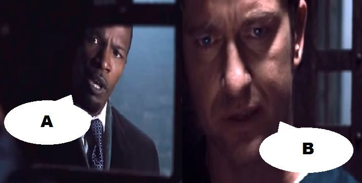 ¿Qué dicen en esta escena en Un ciudadano ejemplar (2009)?