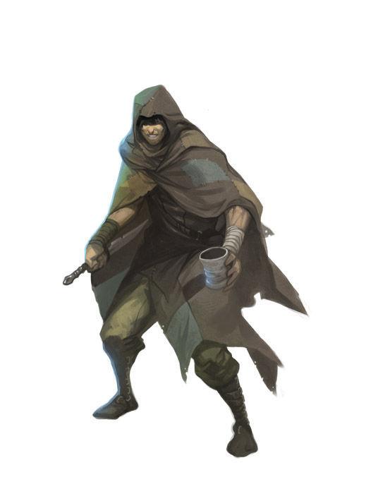 (V) Sigues el callejón y ves a un grupo de rufianes armados con un hombre en suelo mientras otro lo observa.
