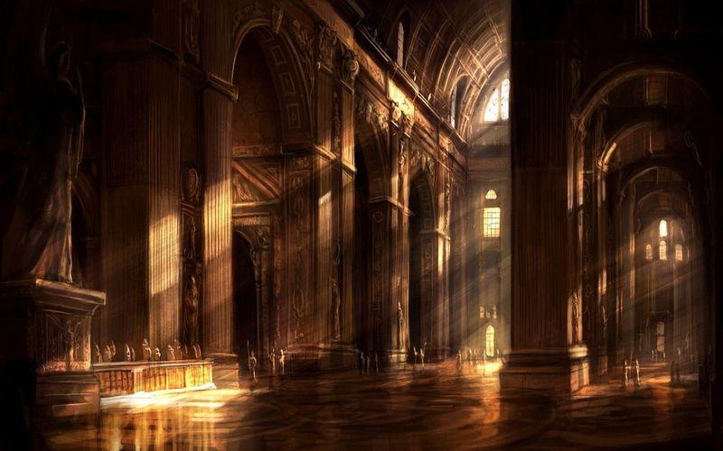 (VII) Estas en la santa iglesia de Padre Firmamento, una deidad intermedia que con el paso de los años ha ganado muchos adeptos.