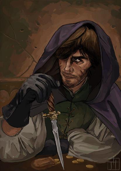 (XVII)Un tipo sentado en un burdel/taberna en los barrios bajos jugando con un cuchillo... la verdad es que no desentona mucho.