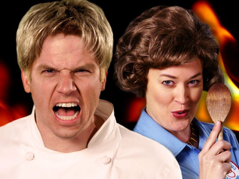 https://www.youtube.com/watch?v=99-n42Xb6NQ                    [Gordon Ramsay VS Julia Child]
