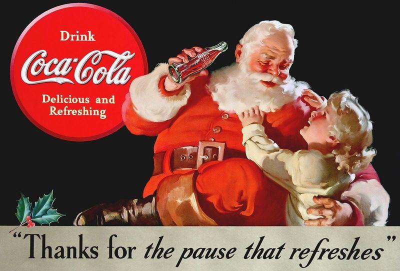 ¿De qué año datan los primeros anuncios de coca cola con Papá Noel vestido de rojo y blanco?