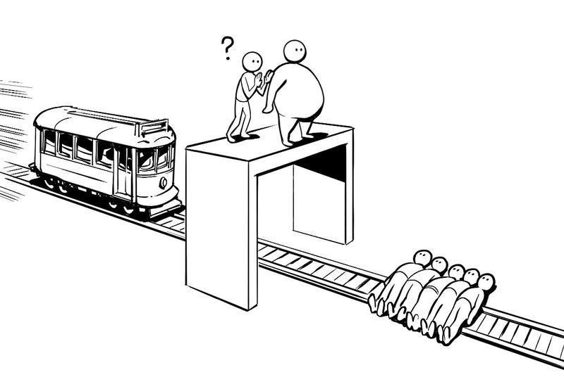 Ves un tren fuera de control que se dirige hacia 5 personas, la única forma de poder salvarlos es lanzar un hombre gordo.