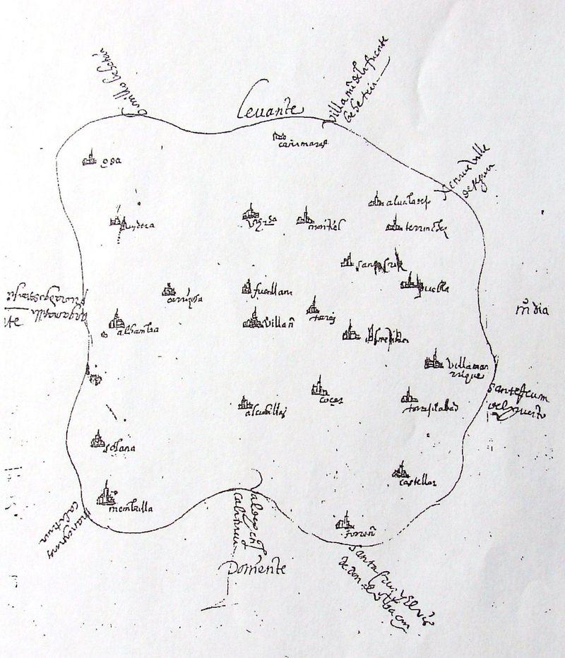 ¿Qué pueblo no aparece en el  mapa más antiguo del Campo de Montiel?