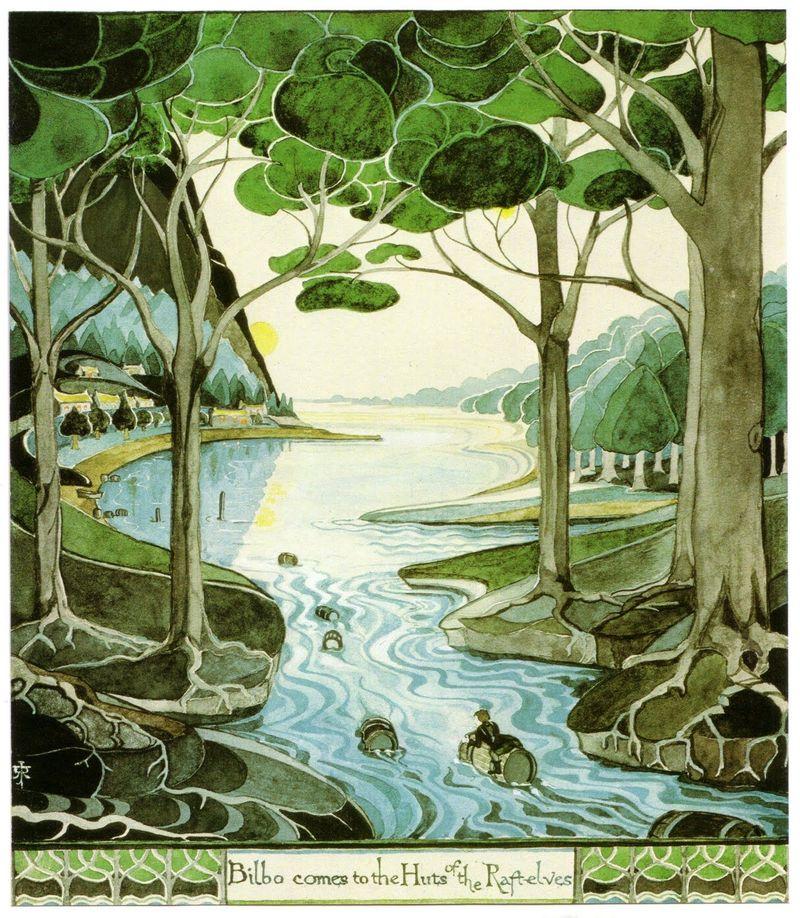 ¿Dónde acaban Bilbo y los enanos después de huir con los barriles de los salones del rey elfo?