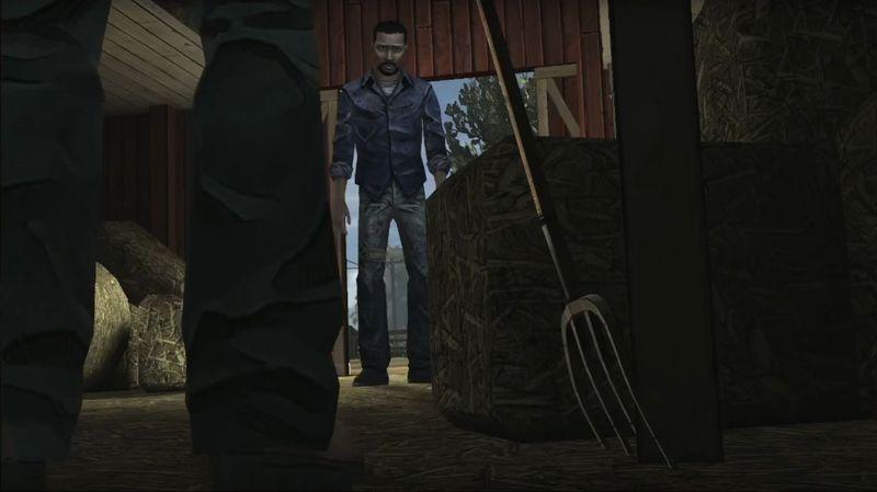 ¿Qué es lo que Hershell trata de advertirle a Lee en el granero?