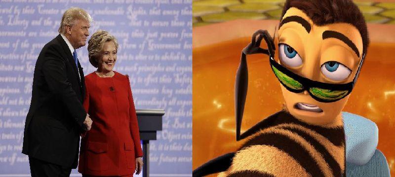 Primer debate presidencial de EEUU vs bee Movie completa pero acelerada cada vez que dicen