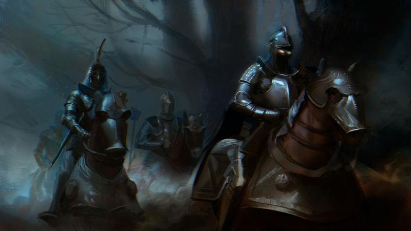 Acompañado de Sir Galahad cabalgas hacia la torre de la hechicera.