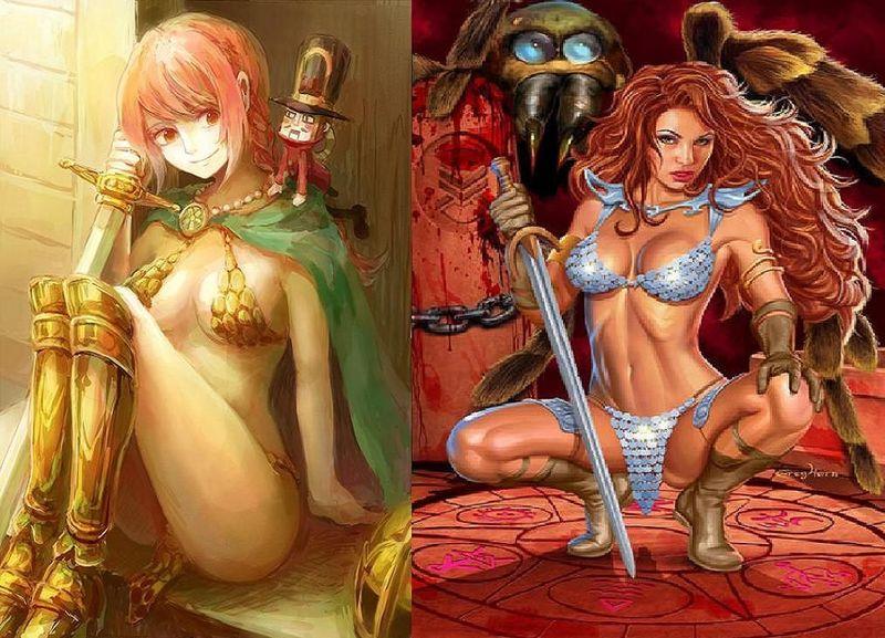 ¿Quién ganaría este combate?¿Rebecca del anime One Piece o Red Sonja de Hyrkania?