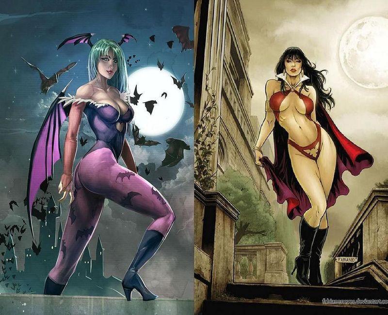 ¿Quién ganaría?¿La súcubo Morrigan o la vampiresa Vampirella?