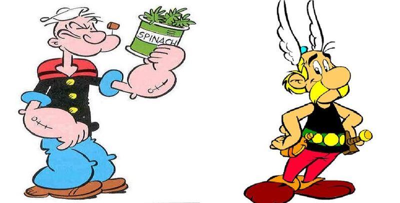 ¿Cuál de estos personajes ganaría usando lo que le da fuerzas?¿Popeye el Marino o Asterix el Galo?
