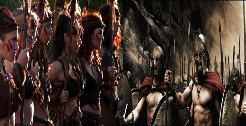 ¿Quién ganaría el combate?¿La Reina Hipólita y 300 amazonas o el Rey Leónidas y 300 espartanos?