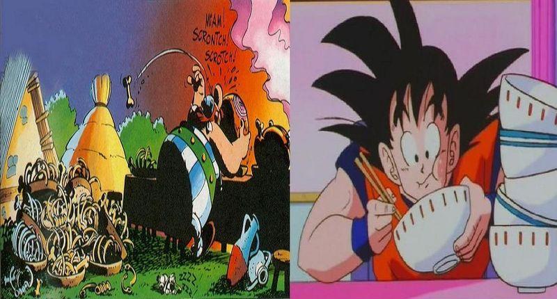 ¿Quién ganaría en un combate de comer más?¿Obélix o Gokuh?