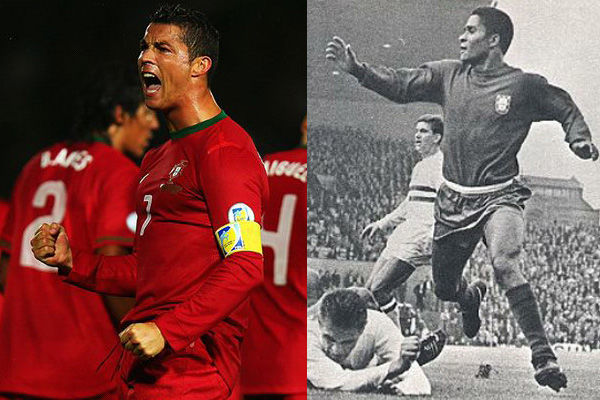 ¿Quién ha marcado más goles -en los mundiales- de estos dos grandes jugadores portugueses: Cristiano o Eusebio?