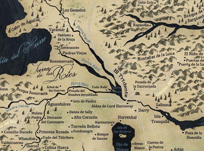 ¿Qué nombre no han recibido las dos colinas ubicadas entre Seto de Piedra y Arbol de los Cuervos en la Tierra de los Ríos?