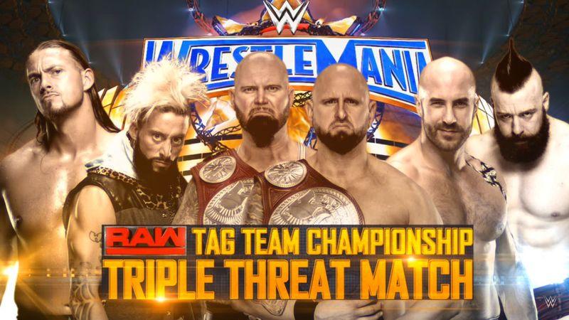 Ladder Match, Campeonato en Parejas de Raw: Luke Gallows & Karl Anderson (c) vs. Enzo Amore & Big Cass vs. Sheamus & Cesaro